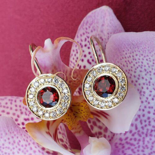 Ohrhänger Brillanten, Granat 585 Gold
