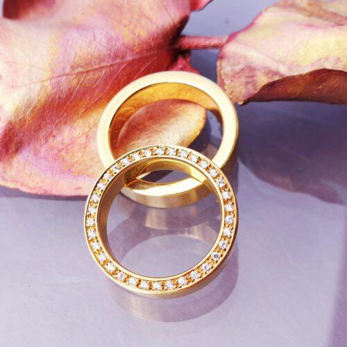 Trauringe mit Brillanten im Profil 750 Gold