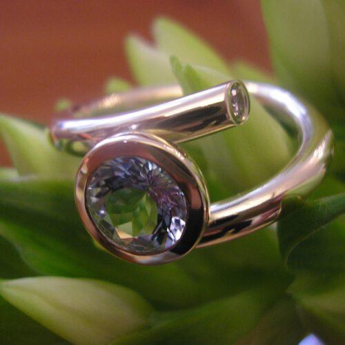 Ring mit Aquamarin in 585 Gold